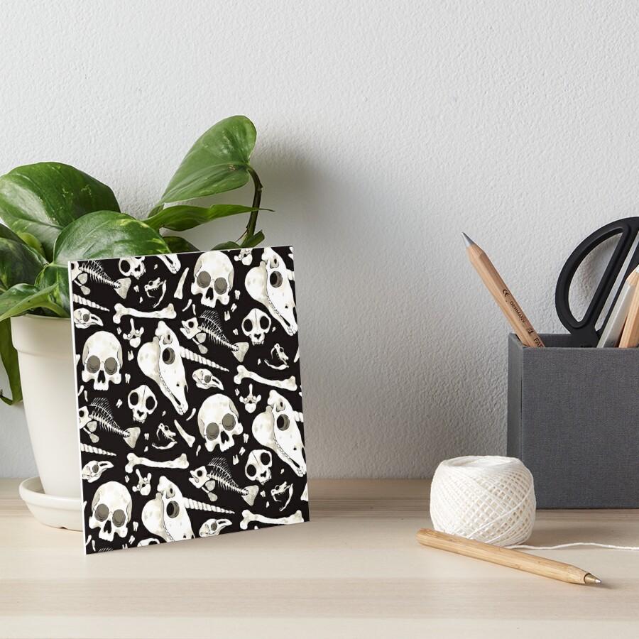 black Skulls and Bones - Wunderkammer Art Board Print