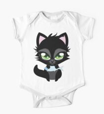 Cute cartoon black kitten with blue fish One Piece - Short Sleeve