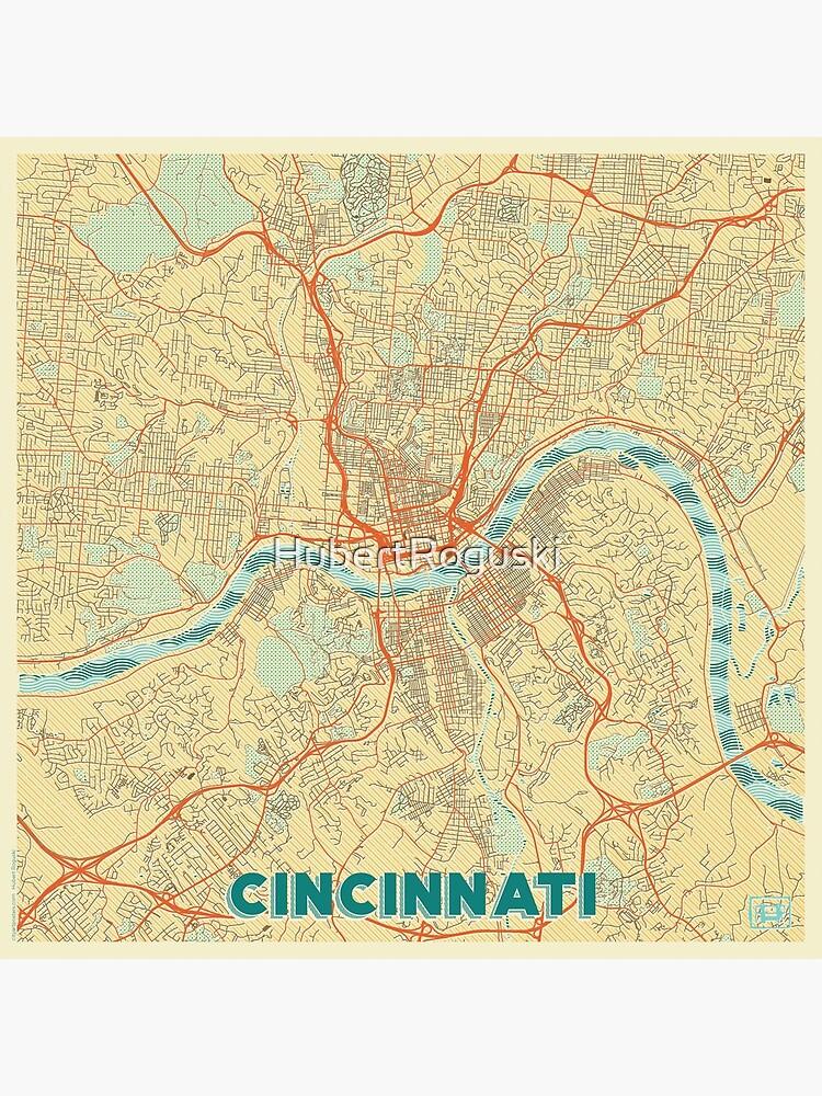 Cincinnati Map Retro by HubertRoguski
