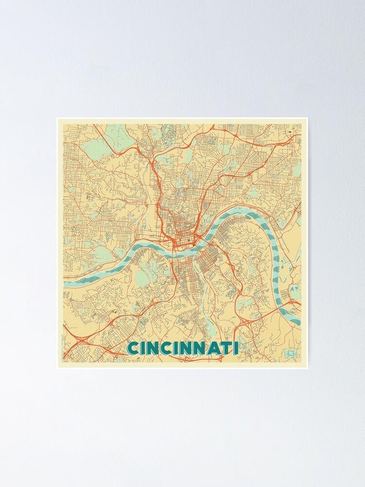 Alternate view of Cincinnati Map Retro Poster