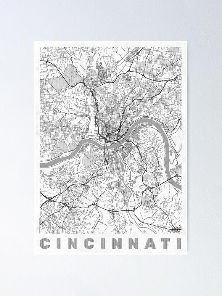 Alternate view of Cincinnati Map Line Poster