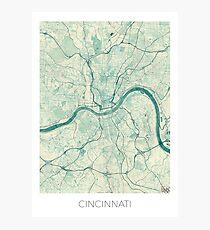 Cincinnati Map Blue Vintage Photographic Print