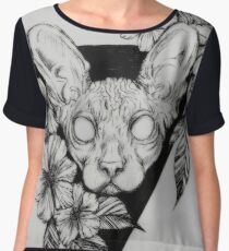 Hairless Sphinx Cat Flower Portrait  Chiffon Top