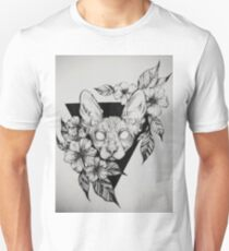 Hairless Sphinx Cat Flower Portrait  T-Shirt