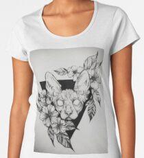 Hairless Sphinx Cat Flower Portrait  Women's Premium T-Shirt