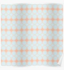 Pastel Pattern Dots and Gradient Baby Blue and Peach Orange Poster