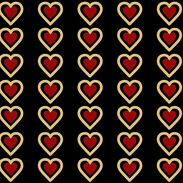 Red Queen Heart Pattern - Black by rivermill