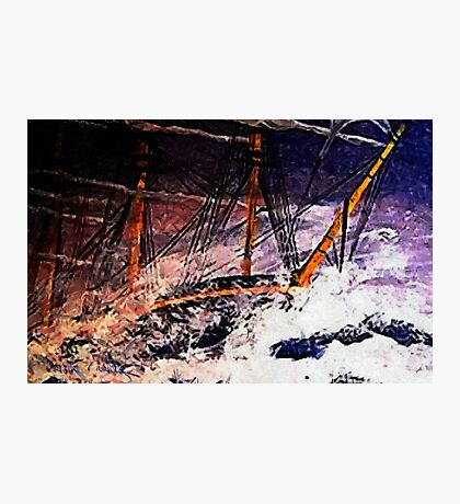An acrylic painting of Racing the Storm in the Bay of Biscay Photographic Print