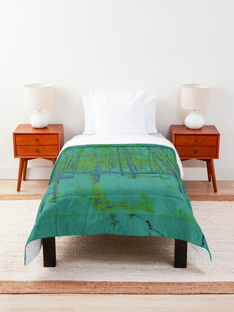 Alternate view of Nature Lovers Gift - Into the Woods - Teal Blue Green Abstract Nature Art Comforter