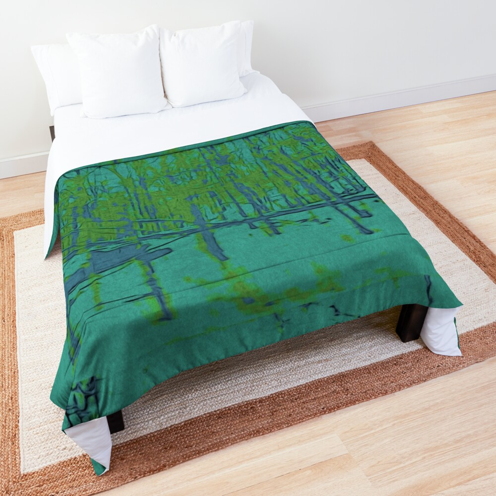 Nature Lovers Gift - Into the Woods - Teal Blue Green Abstract Nature Art Comforter