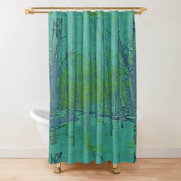 Nature Lovers Gift - Into the Woods - Teal Blue Green Abstract Nature Art Shower Curtain