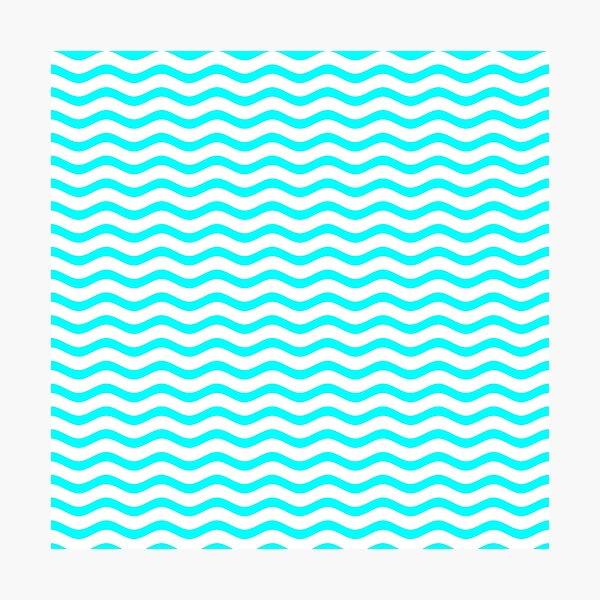 Aqua White Chevron Wave Photographic Print