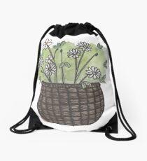 Basket of Flowers Drawstring Bag