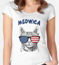 Meowica USA Cat Women's Fitted Scoop T-Shirt