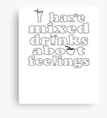 Mixed Drinks Soft Party Screen Printed Summer Graphic Gift Tshirt Canvas Print