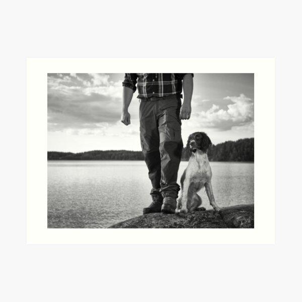Hunter and puppy Art Print