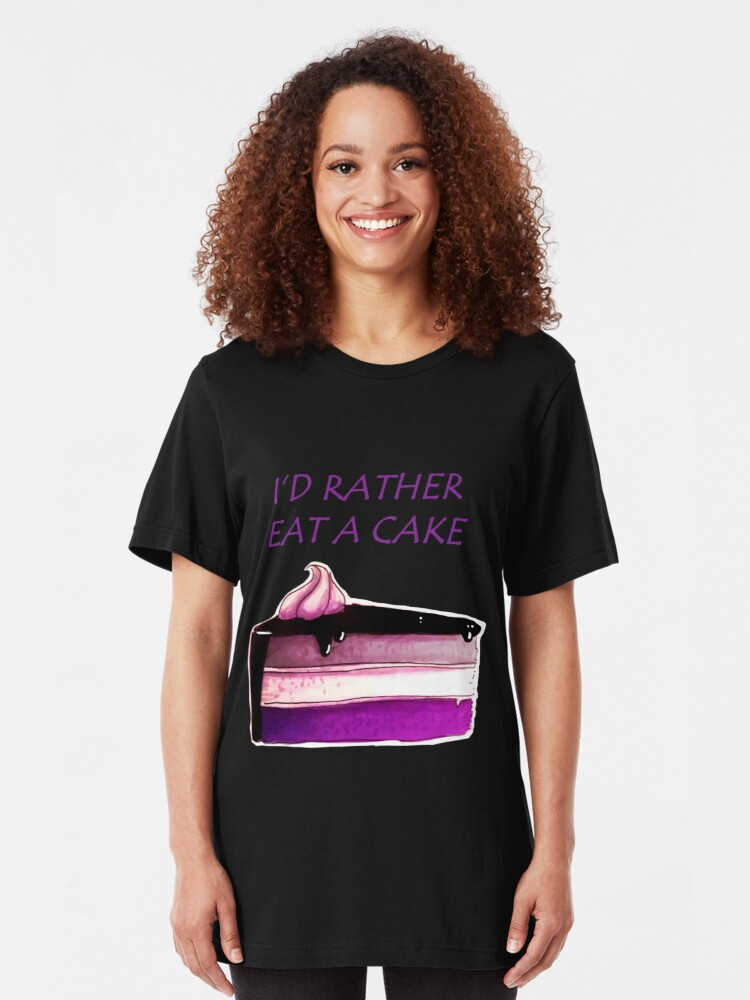 Alternate view of Asexual Cake Slim Fit T-Shirt