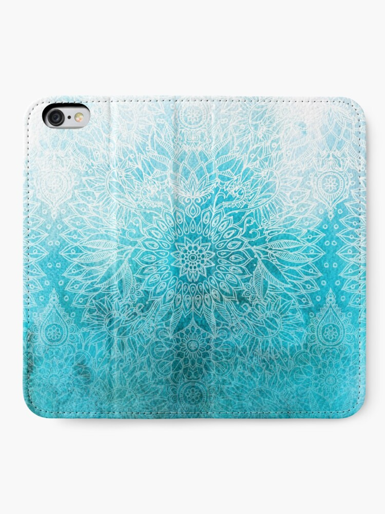 Alternate view of Fade to Teal - watercolor + doodle iPhone Wallet