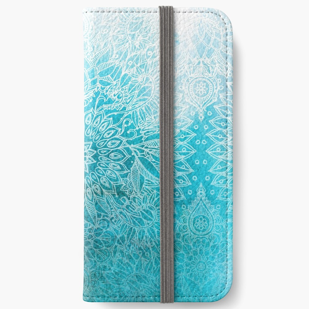 Fade to Teal - watercolor + doodle iPhone Wallet