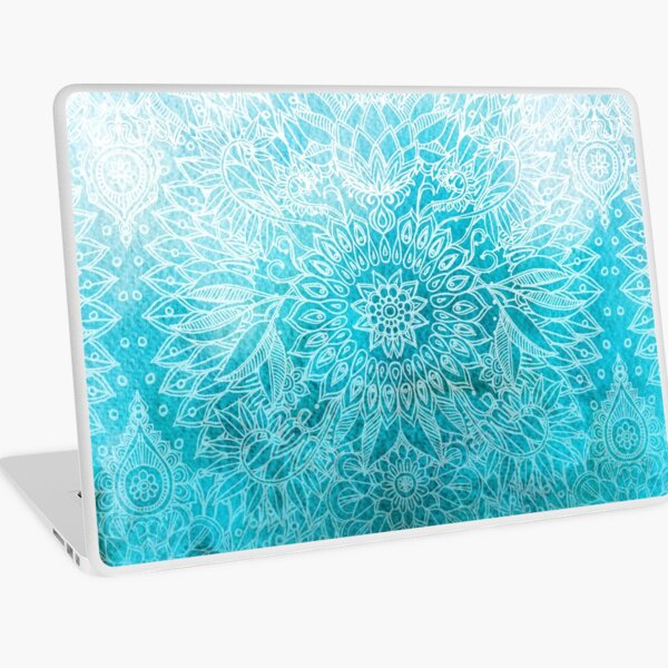Fade to Teal - watercolor + doodle Laptop Skin