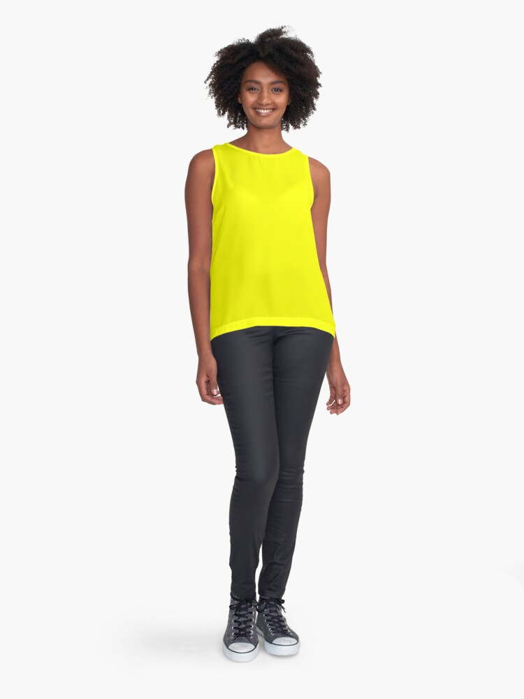 Alternate view of Neon fluorescent Yellow | Yellow|neon Yellow/Fluro Yellow Sleeveless Top