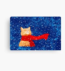 Tabby loves Snow Canvas Print