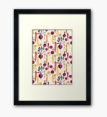 Autumn Vegetables Pattern on White background Framed Print