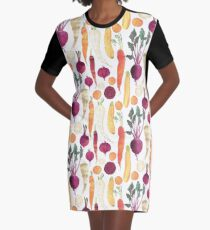 Autumn Vegetables Pattern on White background Graphic T-Shirt Dress
