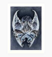 Cthulhu Dreaming, in Daemoniac black Art Print