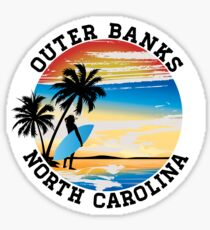Surfing OUTER BANKS NORTH CAROLINA Surf Surfer Surfboard Waves Ocean Beach Vacation Sticker