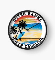 Surfing OUTER BANKS NORTH CAROLINA Surf Surfer Surfboard Waves Ocean Beach Vacation Clock