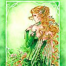 Lady in Green Steampunk Absinthe Fairy pillow by meredithdillman