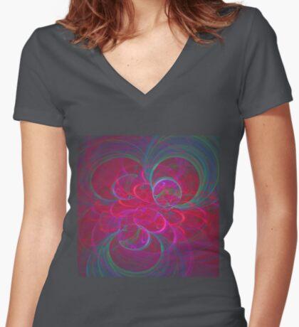 Orbital fractals Women's Fitted V-Neck T-Shirt