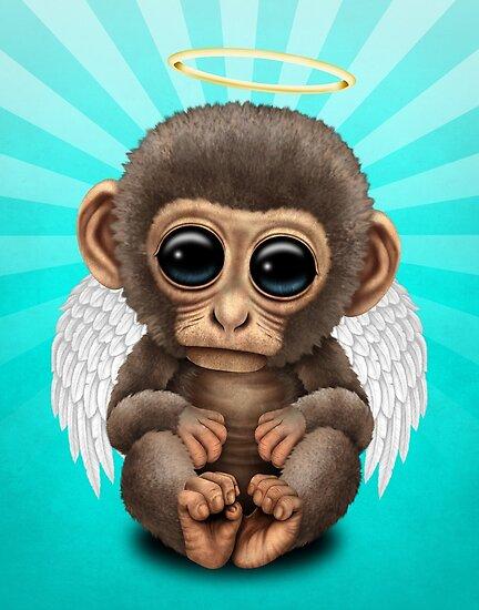 cute baby monkey angel by jeff bartels