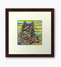 Colorful Psychedelic Rainbow Wolf Framed Print