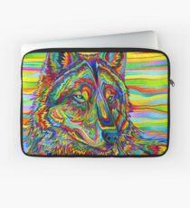 Bunter psychedelischer Regenbogen-Wolf Laptoptasche