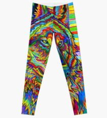 Colorful Psychedelic Rainbow Wolf Leggings