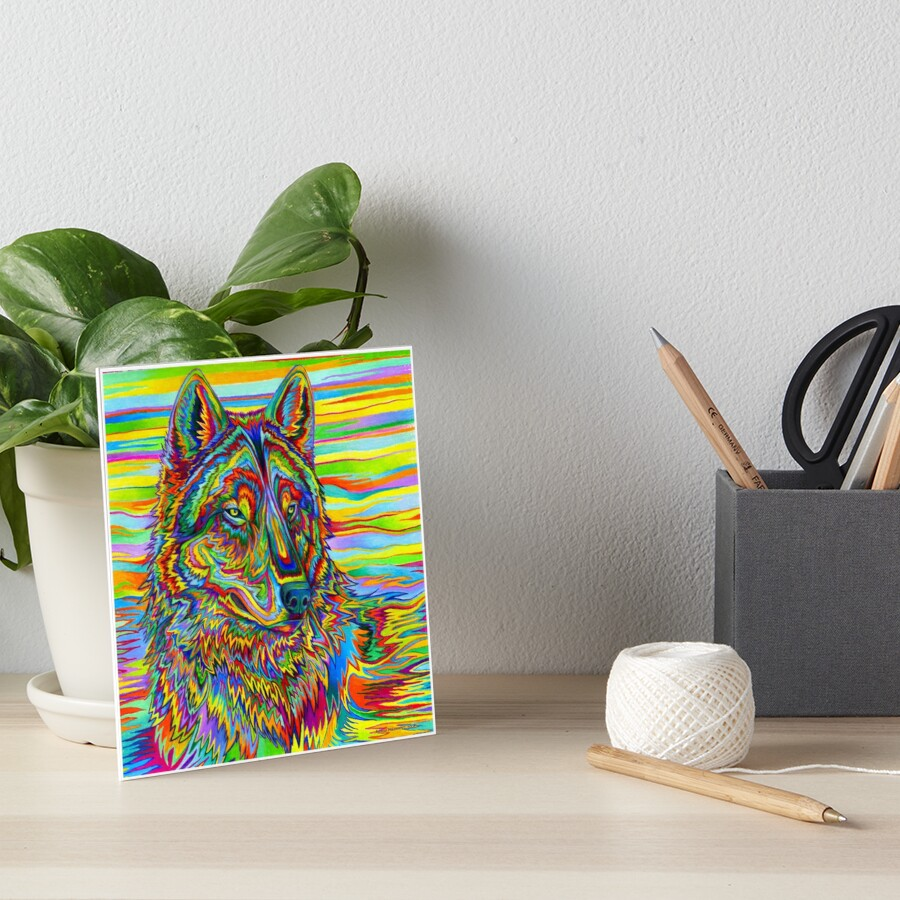 Colorful Psychedelic Rainbow Wolf Art Board Print