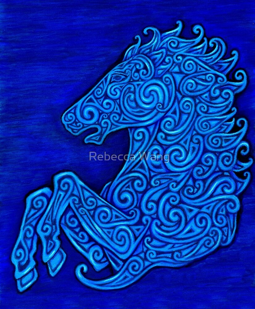 Blue Celtic Horse Abstract Spirals Design by Rebecca Wang