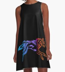 Colorful Tribal Abstract Running Wolf A-Line Dress