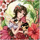 Hibiscus flower Fairy with Calico Cat by meredithdillman