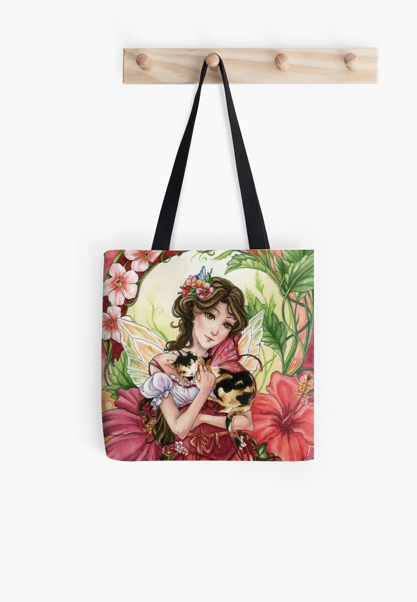 Hibiscus flower Fairy with Calico Cat by Meredith Dillman