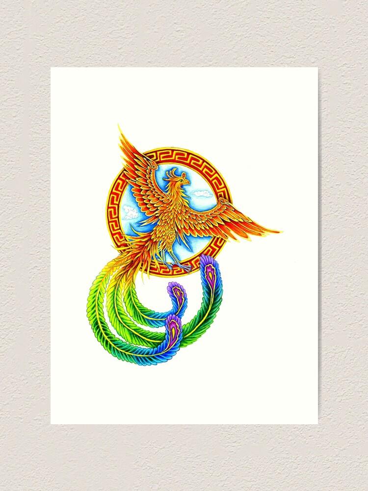 Alternate view of Chinese Vermilion Rainbow Phoenix Bird Art Print