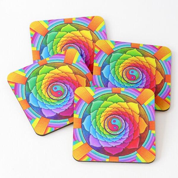 Healing Lotus Rainbow Yin Yang Psychedelic Mandala Coasters (Set of 4)