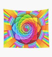 Healing Lotus Rainbow Yin Yang Psychedelic Mandala Wall Tapestry