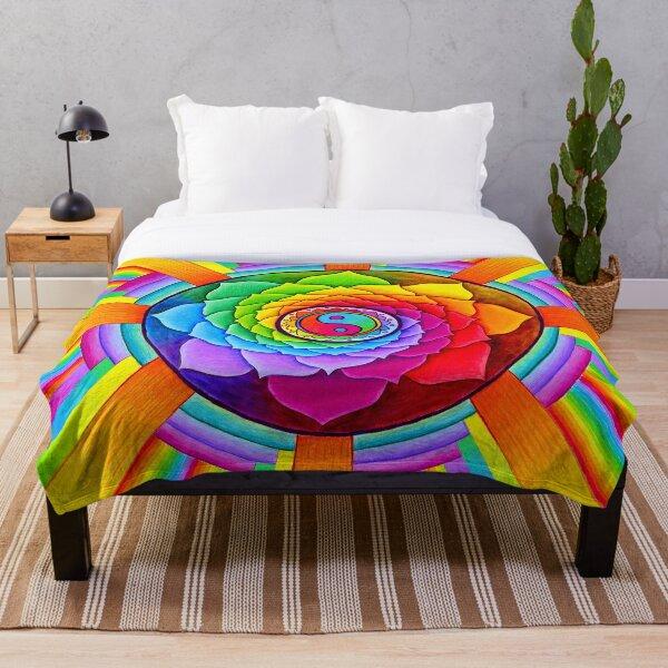 Healing Lotus Rainbow Yin Yang Psychedelic Mandala Throw Blanket