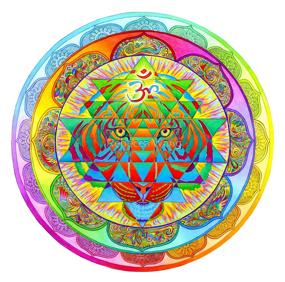 Inner Strength Psychedelic Tiger Sri Yantra Mandala by Rebecca Wang