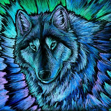 Wolf Aurora Blue Colorful Fantasy Spirit by lioncrusher