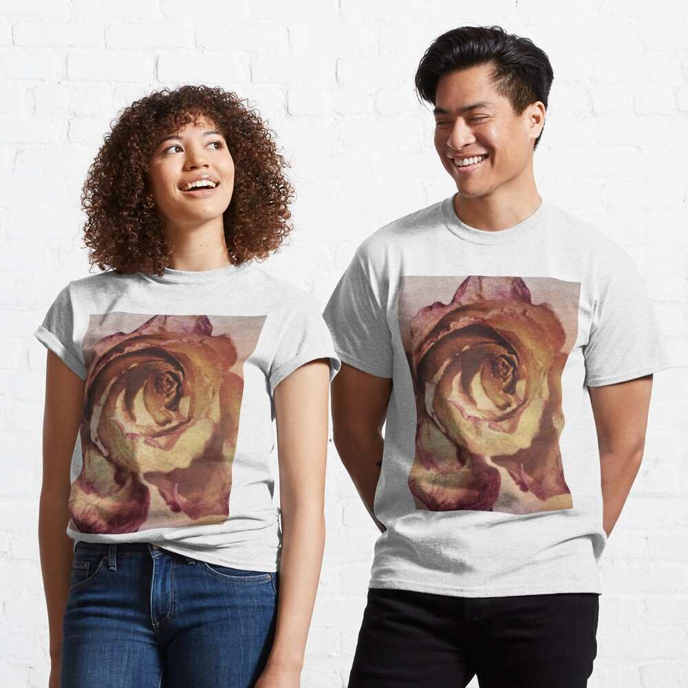 Rose in Time - Flower Lovers - Vintage Dusty Pink Rose Art Classic T-Shirt