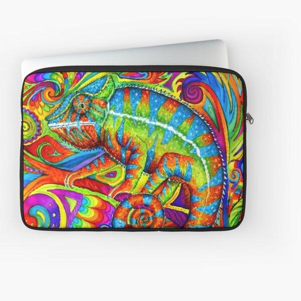 Psychedelizard Psychedelic Chameleon Colorful Rainbow Lizard Laptop Sleeve